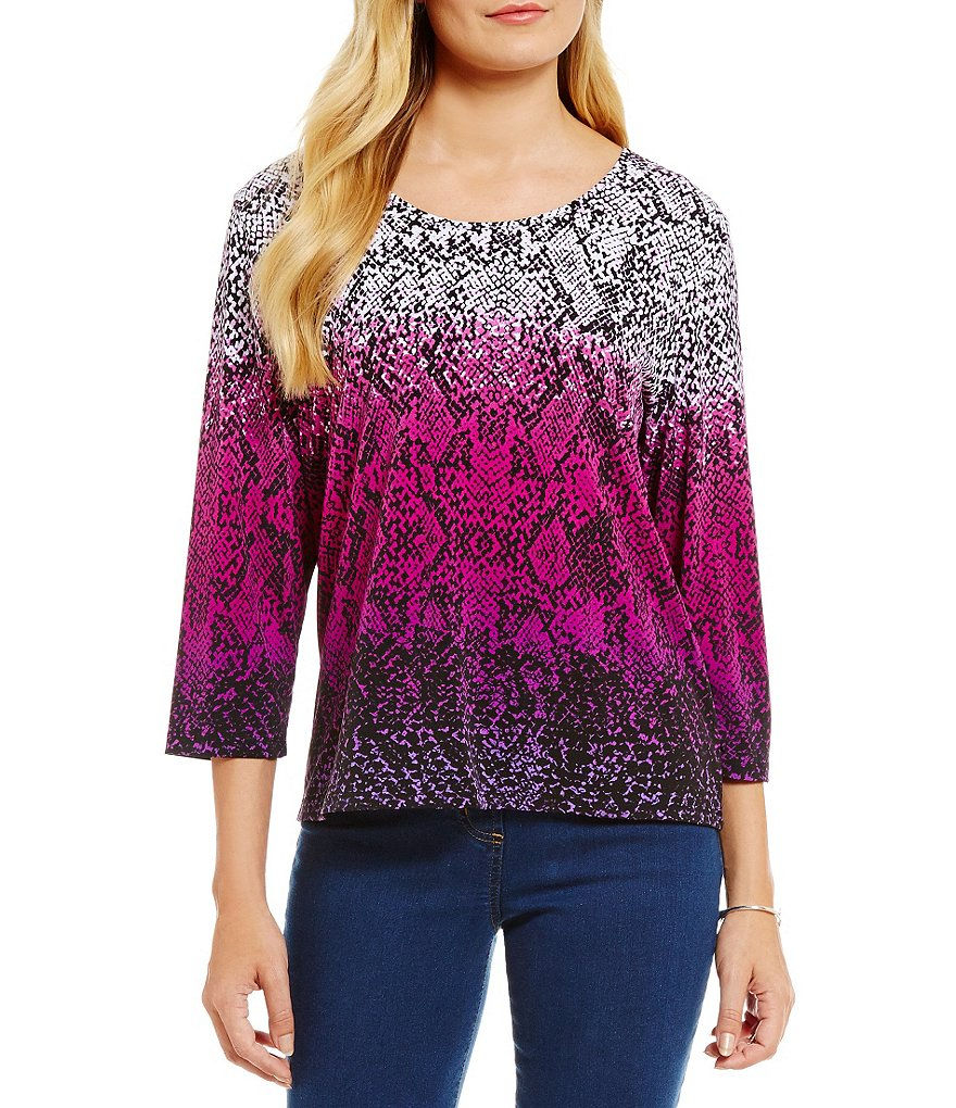 Allison Daley 3/4 Sleeve Snake Print Knit Top