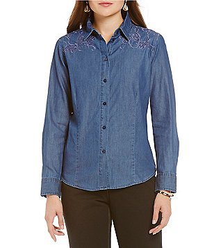 Allison Daley Long Sleeve Point Collar Button Front Denim Shirt