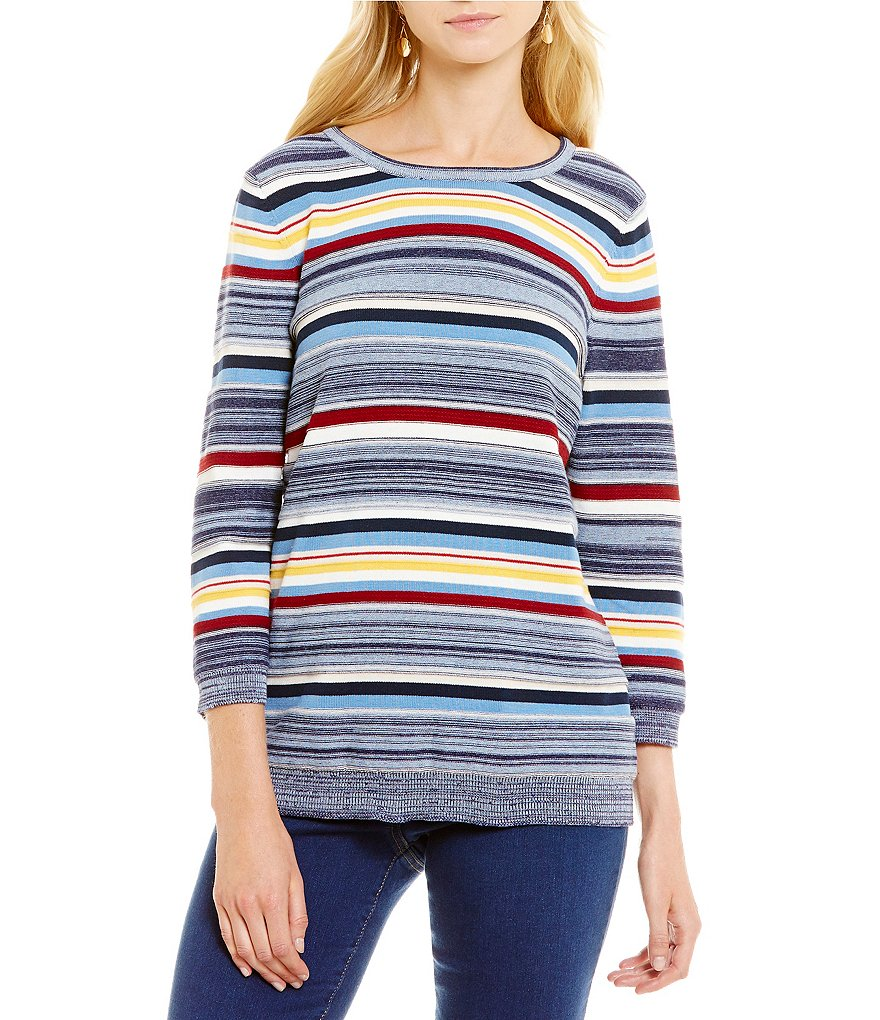 Allison Daley Wide Crew Neck 3/4 Sleeve Pullover