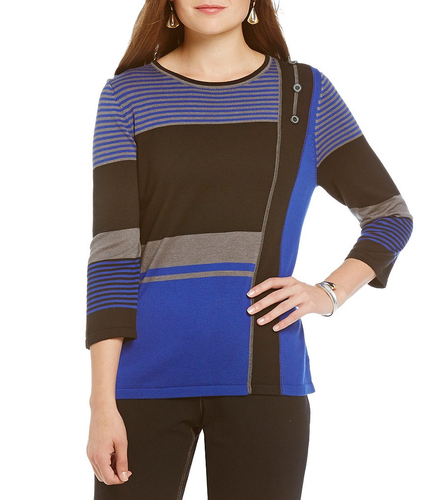 Allison Daley Crew-Neck 3/4 Sleeve Pullover