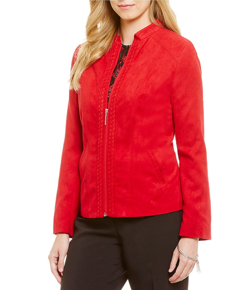 Allison Daley Zip Front Mandarin Collar Suede Jacket