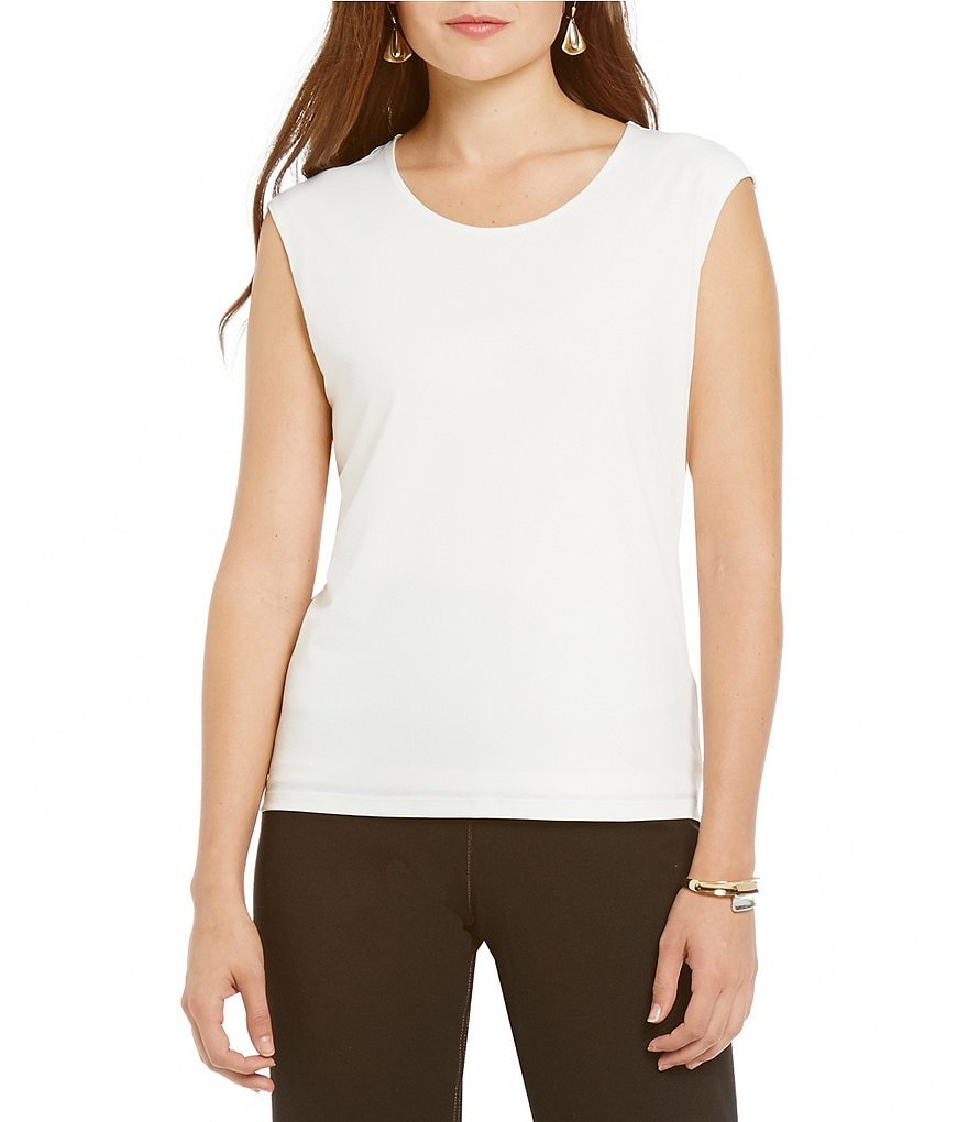Allison Daley Scoop Neck Sleeveless Embossed Jersey Top
