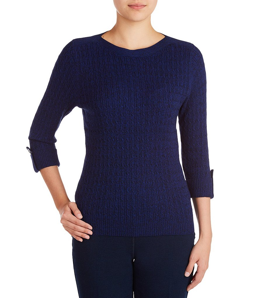 Allison Daley Wide Crew Neck Cable Pullover Sweater