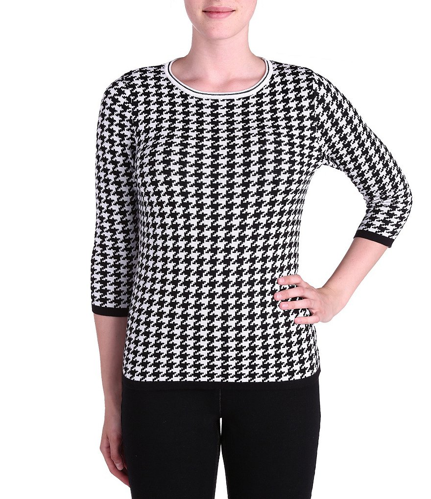 Allison Daley Houndstooth 3/4 Sleeve Top
