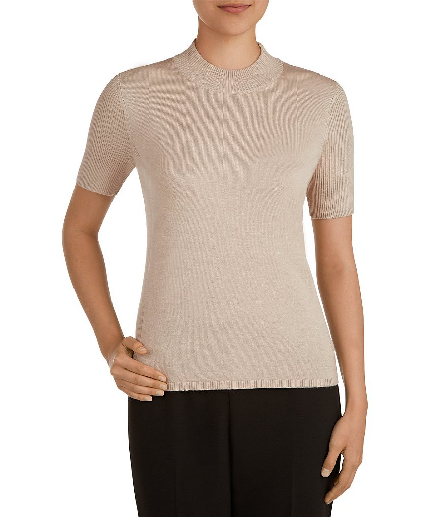 Allison Daley Mock Neck Short Sleeve Solid Pullover