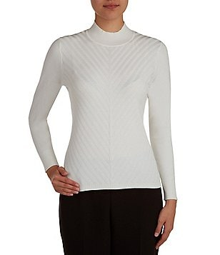 Allison Daley Mock Neck Solid Pullover Sweater