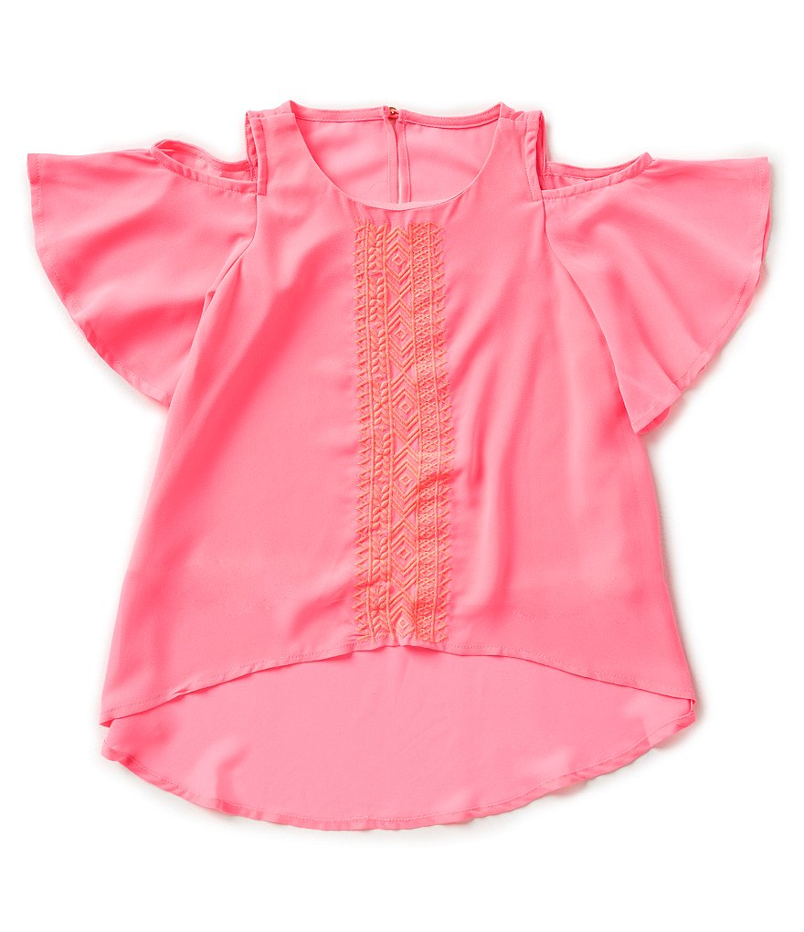 GB Girls Little Girls 4-6X Embroidered Cold Shoulder Blouse