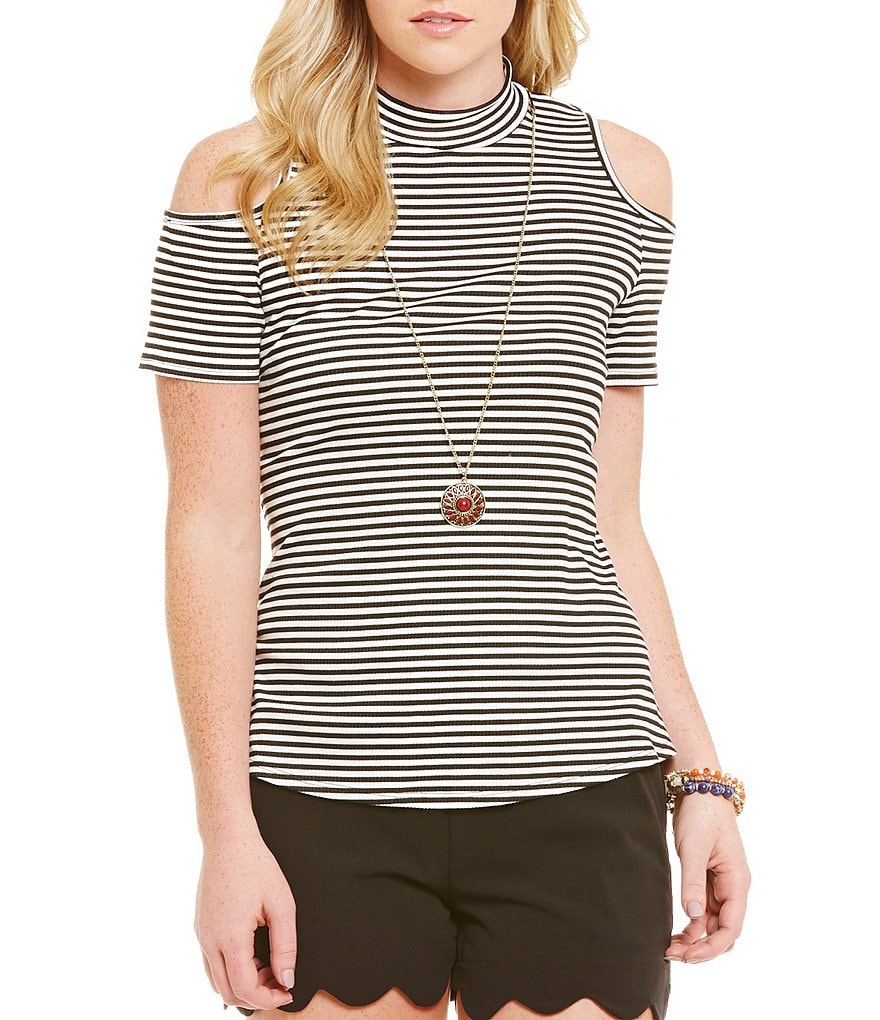 I.N. San Francisco Striped Cold-Shoulder Necklace Top