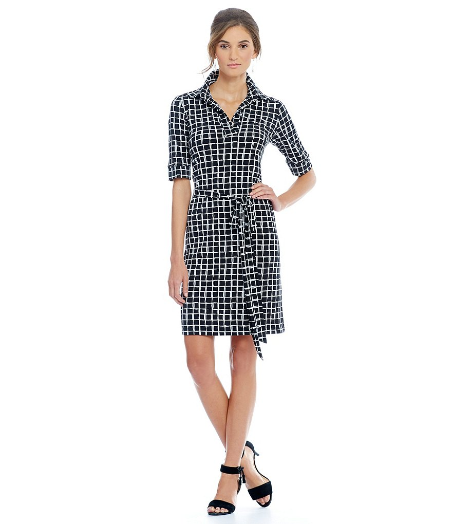 Jessica Howard Grid Pattern Cuff Sleeve Tie Waist Shift Dress