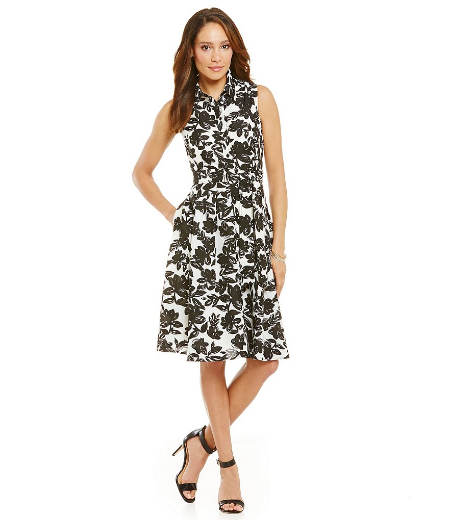 Jessica Howard Tie Waist Floral Shirt Dress