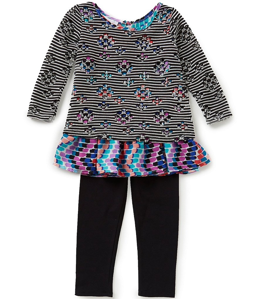 Bonnie Jean Little Girls 2T-6X Novelty-Stripe Knit Top & Leggings Set