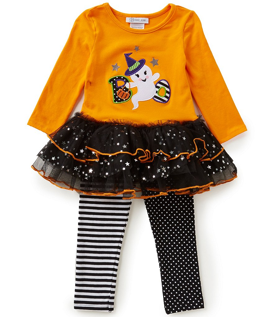 Bonnie Jean Little Girls 2T-6X Halloween Boo Ghost Dress and Leggings Set