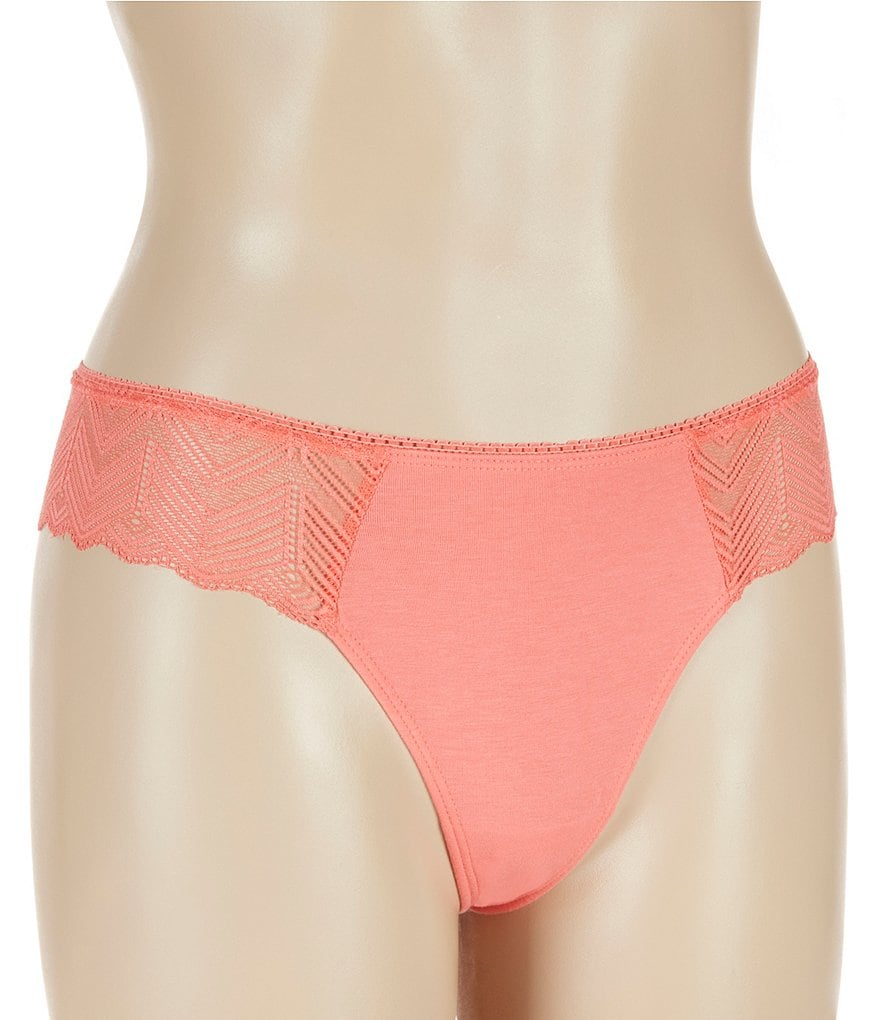 Jasmine & Ginger Geometric Lace & Knit Thong