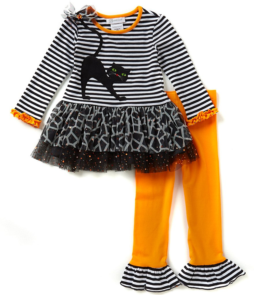 Bonnie Jean Little Girls 2T-6X Halloween Stripe-Knit Cat Dress & Leggings Set