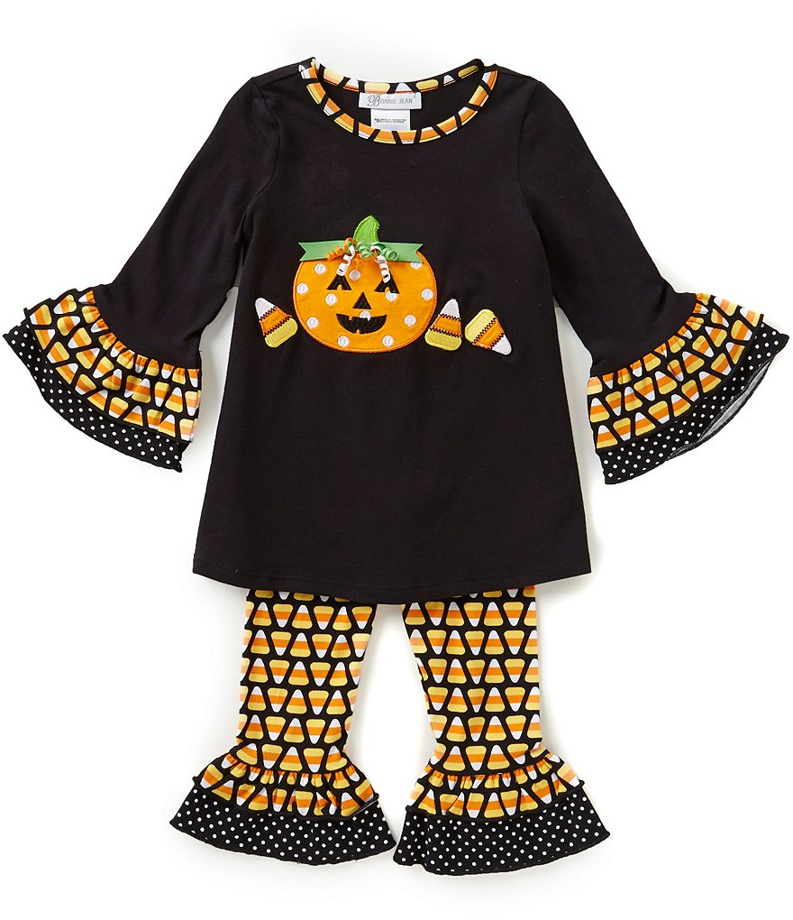 Bonnie Jean Little Girls 2T-6X Halloween Candy Corn Pumpkin Dress and Leggings Set