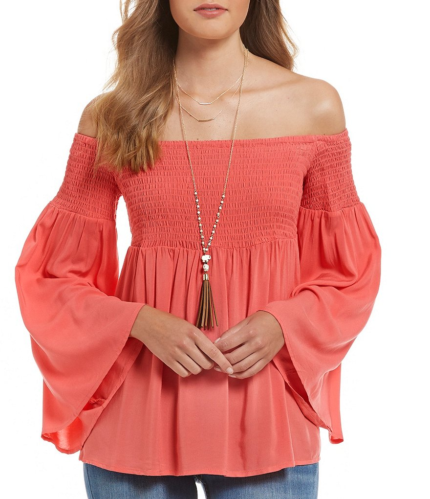 Wyldehart Solid Off-The-Shoulder Bell-Sleeve Smocked Top