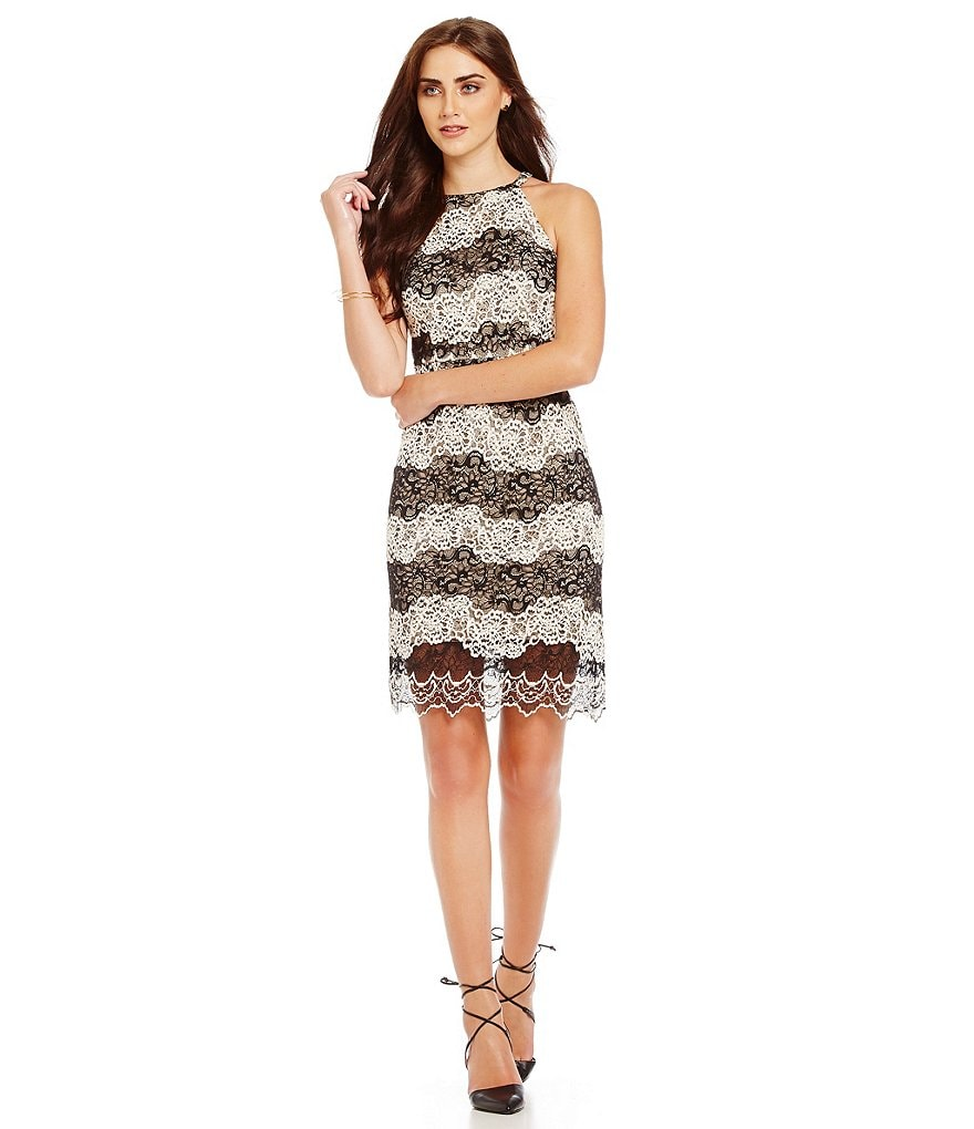 kensie Embroidered Lace Dress