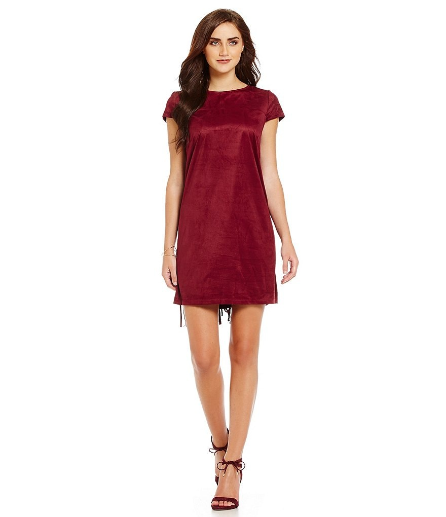 kensie Faux Suede Cap Sleeve Shift Dress