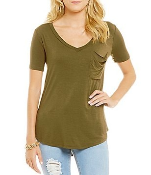 Copper Key V-Neck Pocket Knit Tee
