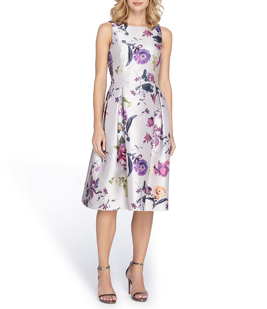 Tahari ASL Printed Mikado Midi Dress