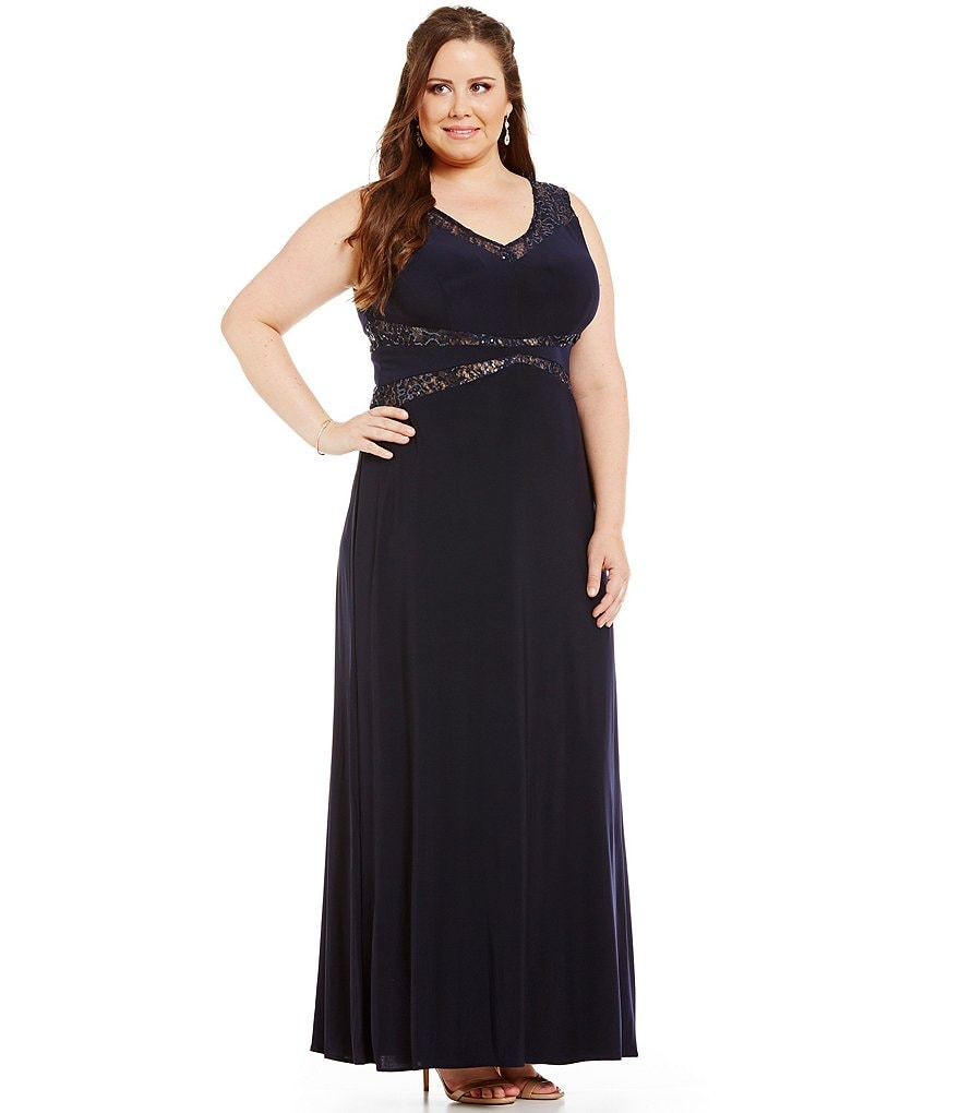 Morgan & Co. Plus Sequin Lace Insets V-Neck Long ITY Dress