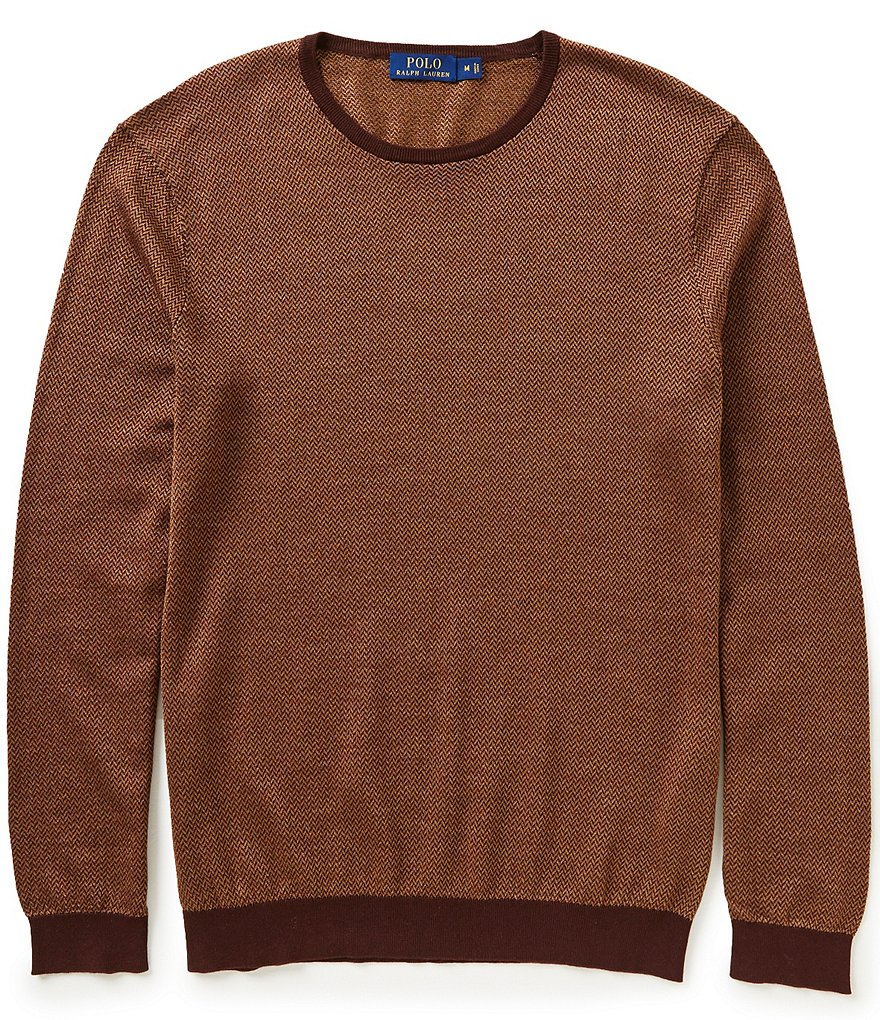 Polo Ralph Lauren Silk-Cotton Crewneck Herringbone Sweater