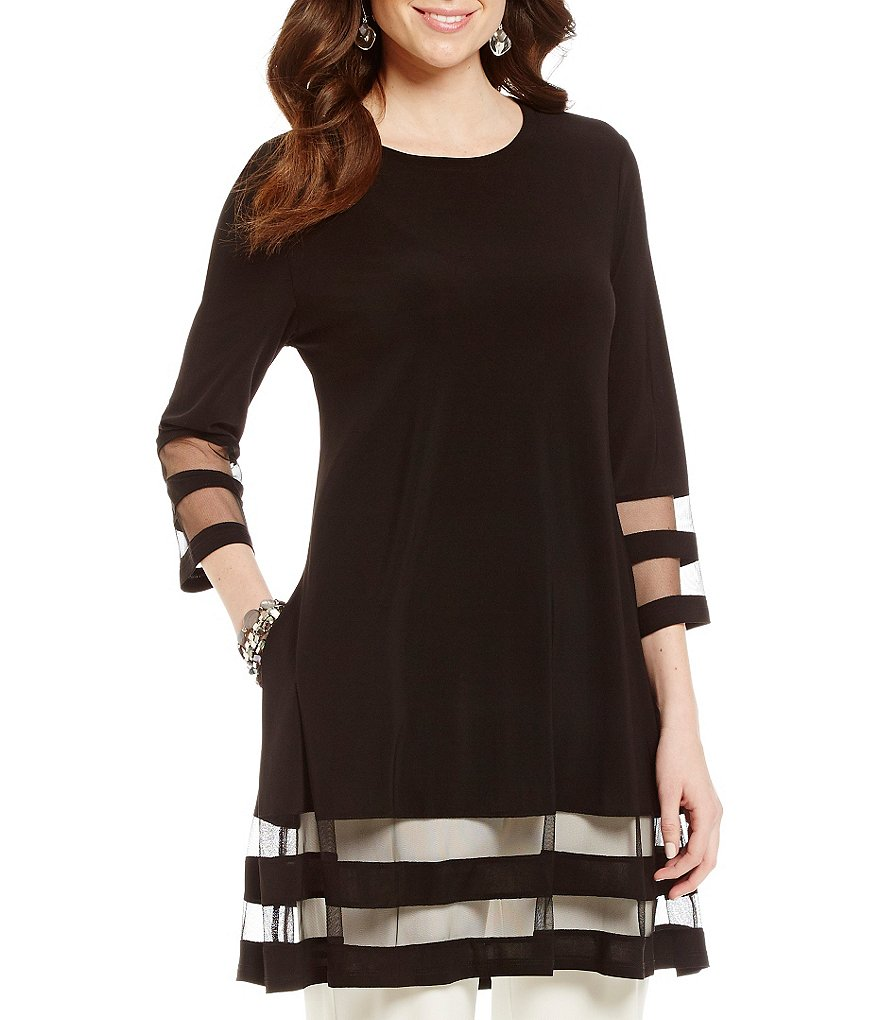 IC Collection 3/4 Sleeve Sheer Hem Tunic