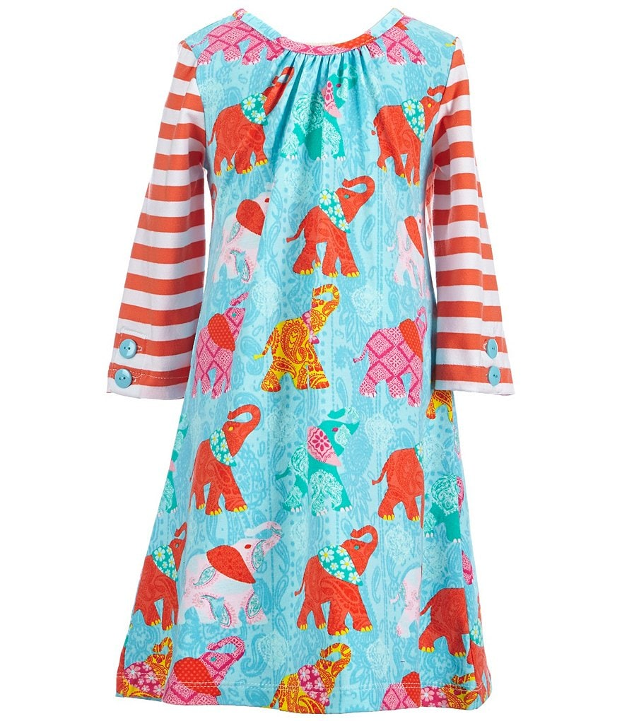 Counting Daisies Little Girls 2T-6X Elephant-Print Shift Dress