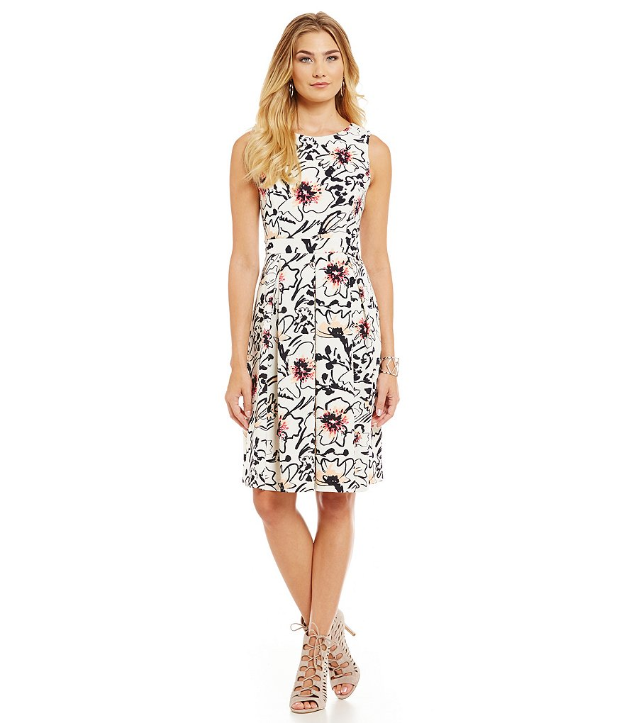 KARL LAGERFELD PARIS Floral Print Scuba Fit and Flare Dress