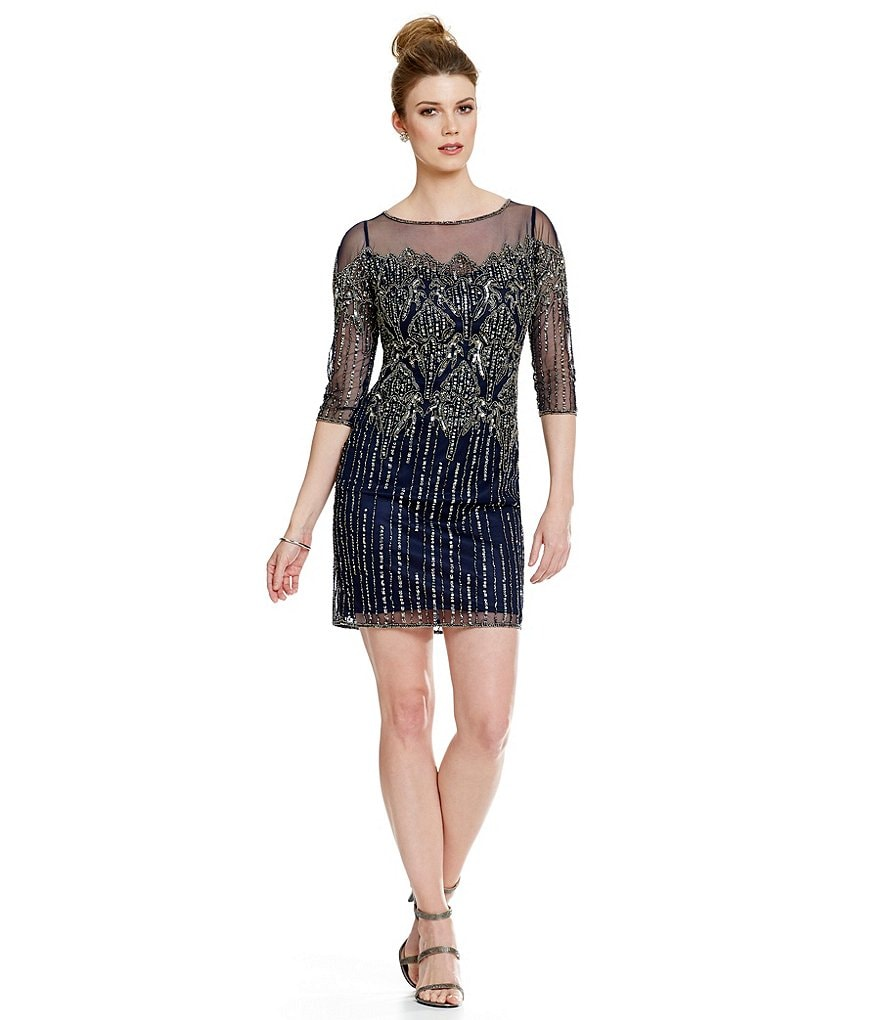 Pisarro Nights Petite Beaded Illusion 3/4 Sleeve Sheath Dress