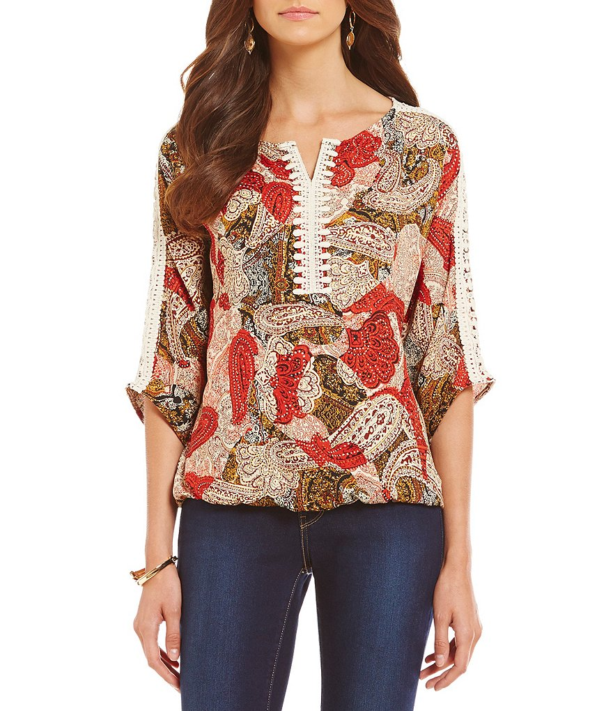 Bobeau 3/4 Sleeve V-Neck with Applique Printed Peasant Top