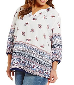 Moa Moa Plus 3/4 Sleeve Split Neck Peasant Top