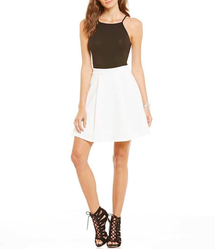 B. Darlin Spaghetti Strap Color Block A-line Dress