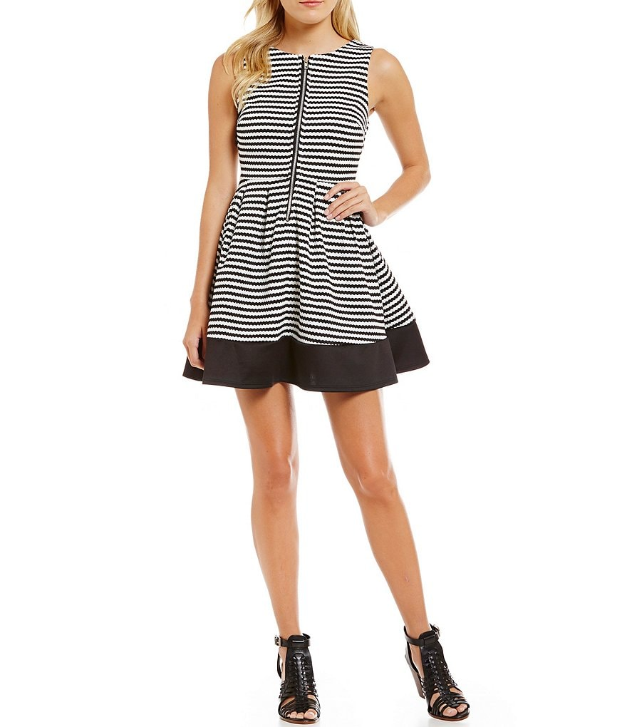 Midnight Doll Zip Front Striped Skater Dress