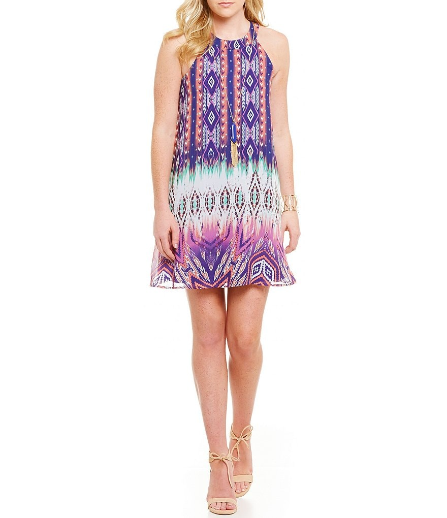 Jodi Kristopher Dip-Dye Tribal Print Shift Dress