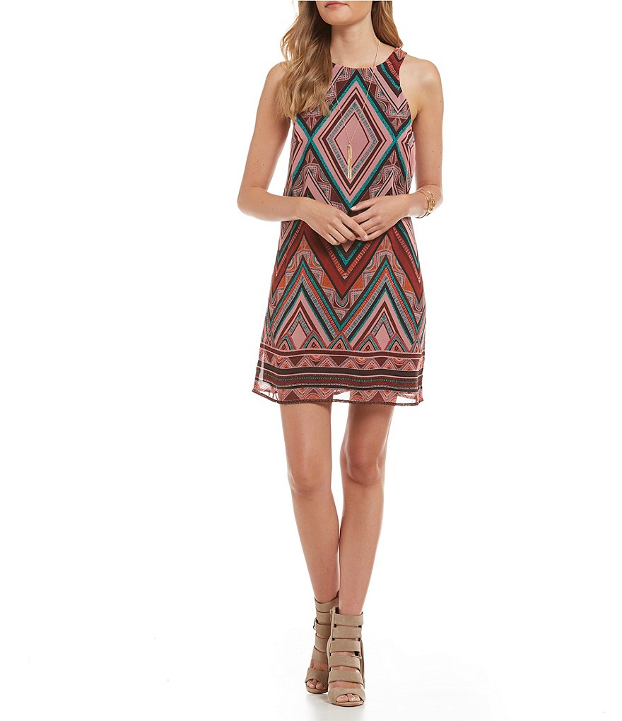 Jodi Kristopher Diamond Print Border-Hem Trapeze Dress