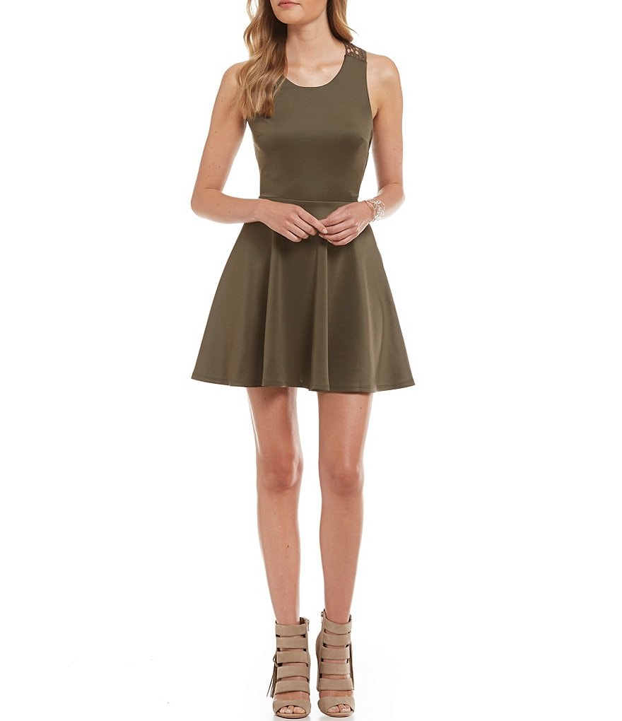Jodi Kristopher Crochet Back Skater Dress