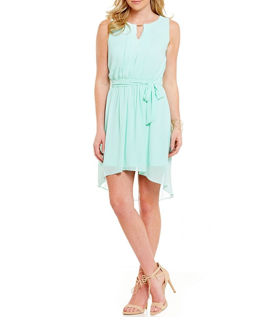I.N. San Francisco Keyhole Neckline High-Low Hem Dress