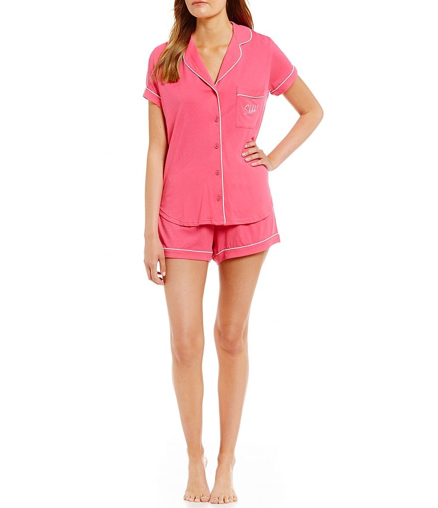 kate spade new york Shhh! Embroidered Jersey Pajamas