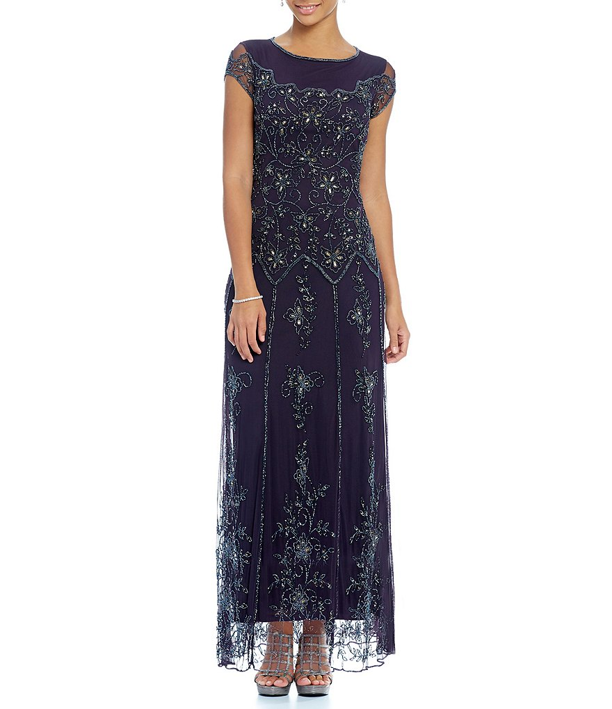 Pisarro Nights Petites Floral Beaded Gown