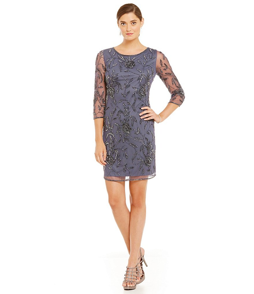 Pisarro Nights Petites Beaded 3/4 Sleeve Sheath Dress