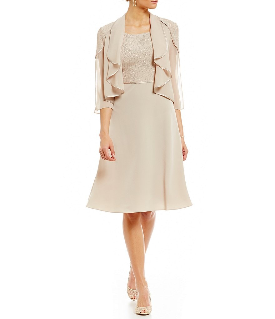 Le Bos Glitter Trimmed Shawl Collar Jacket Dress