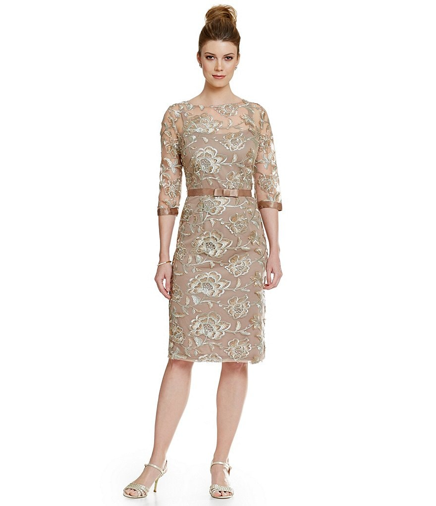 Emma Street 3/4 Sleeve Embroidered Lace Sheath Dress
