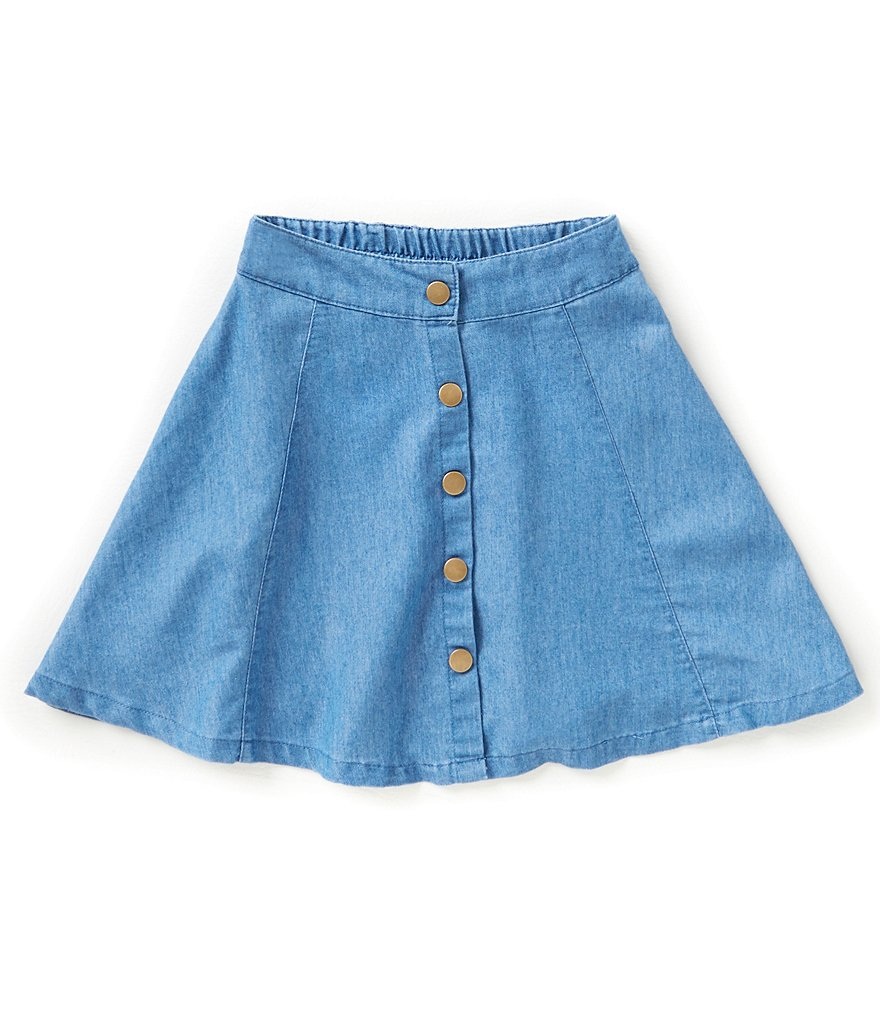 GB Girls Big Girls 7-16 Button Front Chambray Skirt