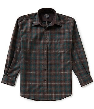 Pendleton Long-Sleeve Lodge Plaid Woven Wool Shirt