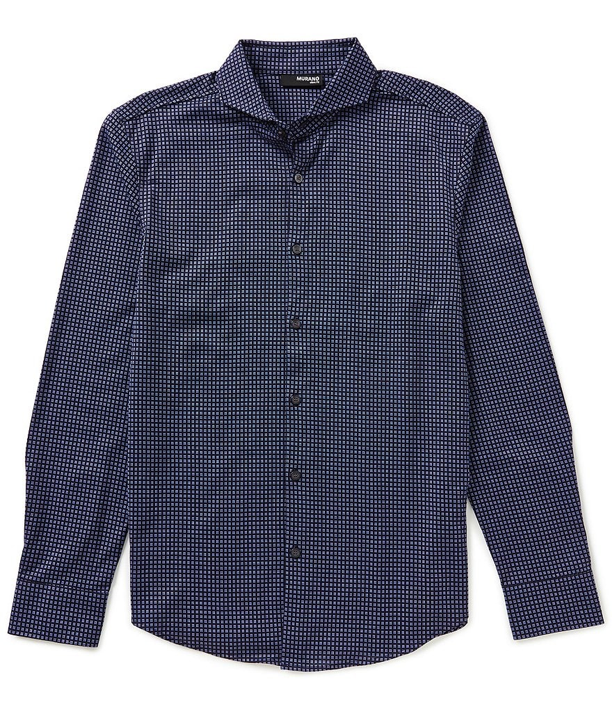 Murano Slim-Fit Long-Sleeve Button-Down Knit Shirt