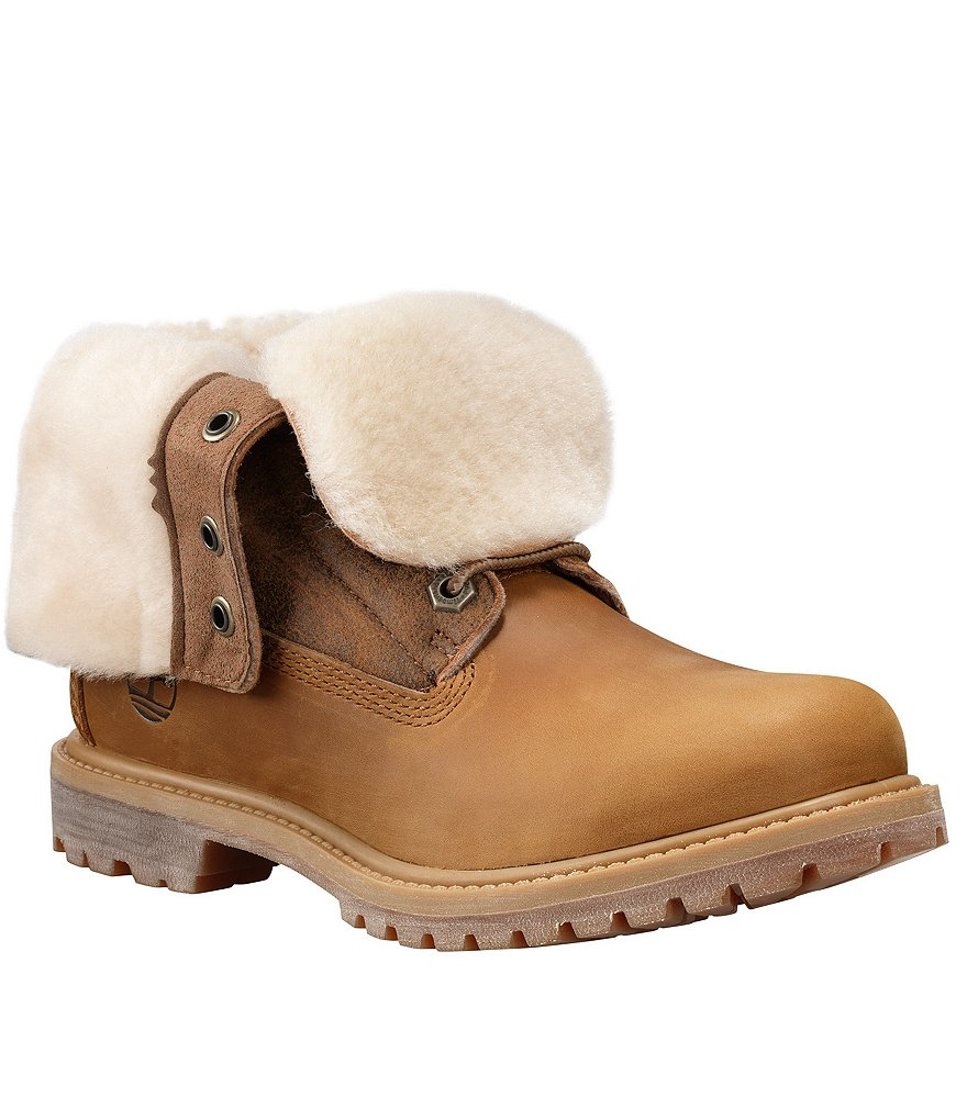 Timberland Women´s Authentic Shearling Fold Over Lace-Up Leather Boots