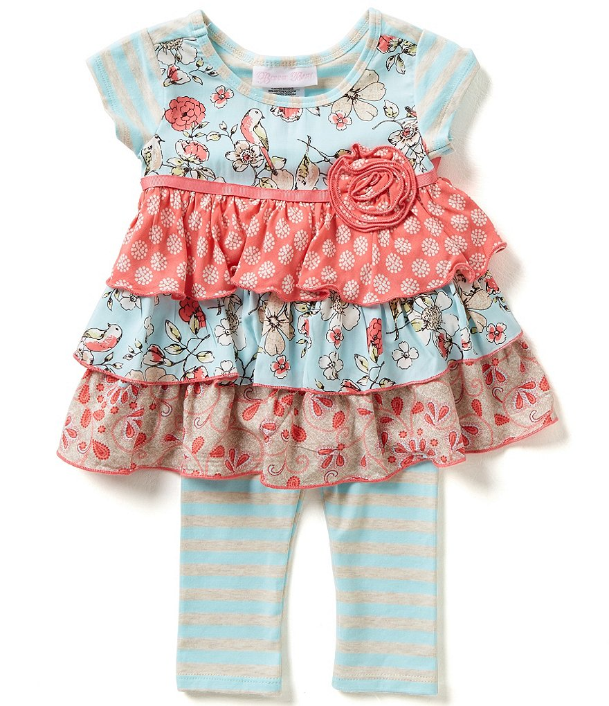 Bonnie Baby Girls Newborn-24 Months Mixed Print Tiered Dress and Striped Leggings Set