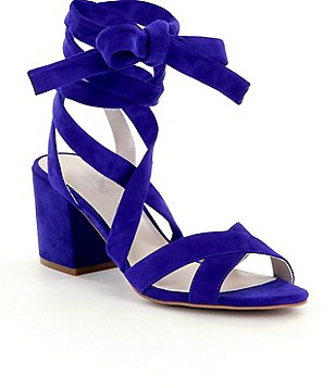 Kenneth Cole New York Victoria Suede Lace Up Block Heel Sandals