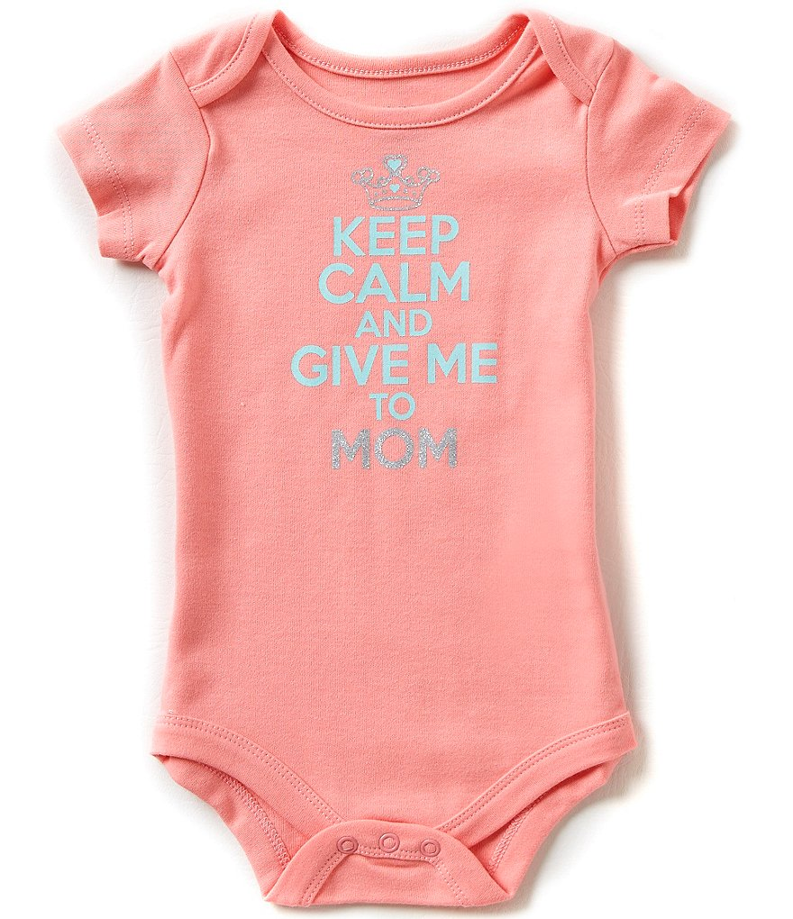 Baby Starters Babies With Attitude Baby Girls 3-12 Months Keep Calm And Give Me To Mom Bodysuit